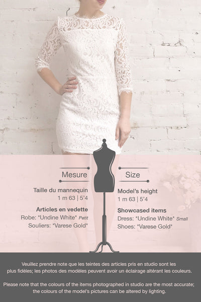 Undine White Short Lace Dress w/ 3/4 Sleeves | Boutique 1861 template