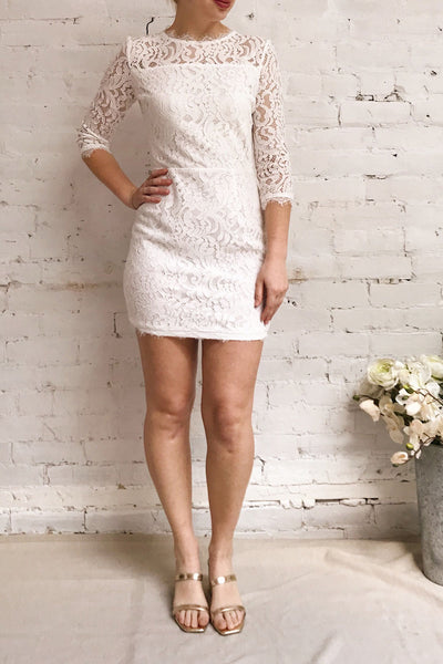 Undine White Short Lace Dress w/ 3/4 Sleeves | Boutique 1861 model look
