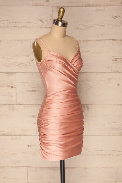 Unice Blush Silky Fitted Cocktail Dress | La petite garçonne side view