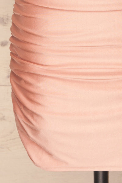Unice Blush Silky Fitted Cocktail Dress | La petite garçonne skirt