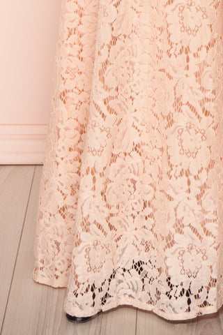 Uranie Blush Pink Lace Mermaid Gown | Boudoir 1861 bottom close-up