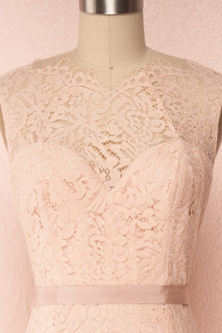 Uranie Blush Pink Lace Mermaid Gown | Boudoir 1861 front close-up