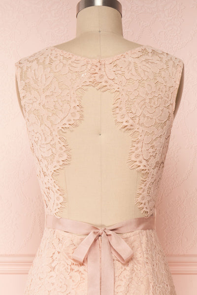 Uranie Blush Pink Lace Mermaid Gown | Boudoir 1861 back close-up