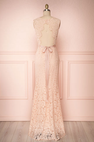 Uranie Blush Pink Lace Mermaid Gown | Boudoir 1861 back view