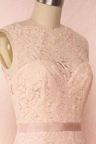 Uranie Blush Pink Lace Mermaid Gown | Boudoir 1861 side close-up