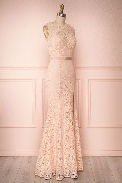 Uranie Blush Pink Lace Mermaid Gown | Boudoir 1861 side view