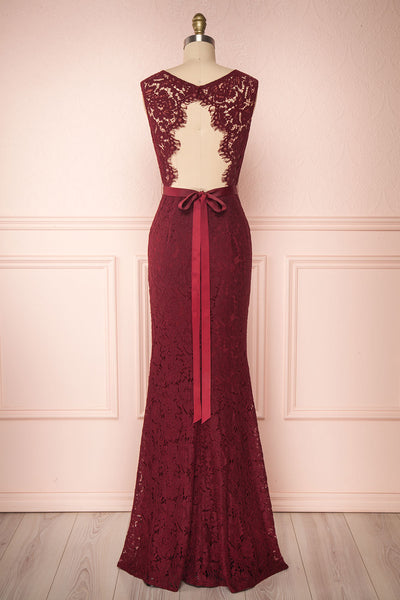 Uranie Burgundy Lace Mermaid Gown | Boudoir 1861 back view