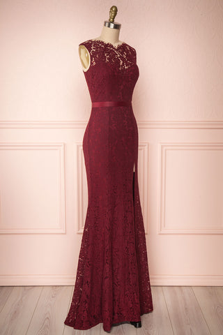 Uranie Burgundy Lace Mermaid Gown | Boudoir 1861 side view