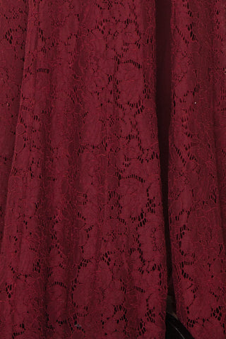 Uranie Burgundy Lace Mermaid Gown | Boudoir 1861 fabric detail