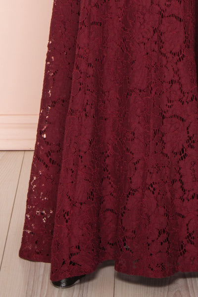Uranie Burgundy Lace Mermaid Gown | Boudoir 1861 bottom close-up