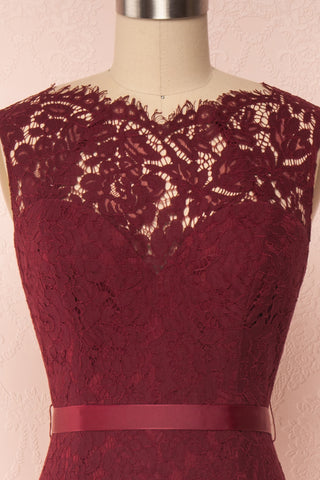 Uranie Burgundy Lace Mermaid Gown | Boudoir 1861 back close-up