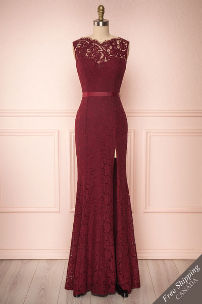 Uranie Burgundy Lace Mermaid Gown | Boudoir 1861 front view