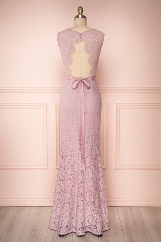 Uranie Mauve Lilac Lace Mermaid Gown | Boudoir 1861 back view