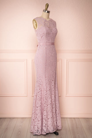 Uranie Mauve Lilac Lace Mermaid Gown | Boudoir 1861 side view