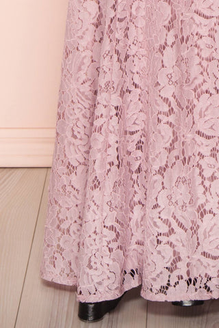 Uranie Mauve Lilac Lace Mermaid Gown | Boudoir 1861 bottom close-up