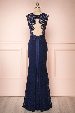 Uranie Navy Blue Lace Mermaid Gown | Boudoir 1861 back view