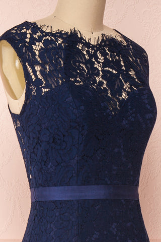Uranie Navy Blue Lace Mermaid Gown | Boudoir 1861 side close-up