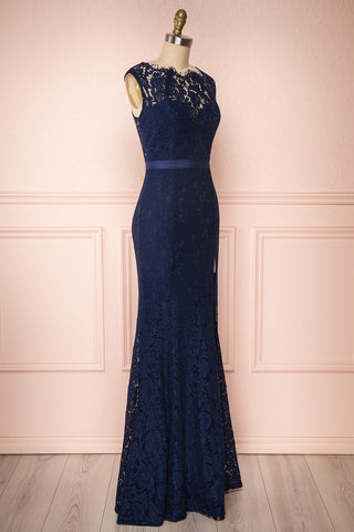 Uranie Navy Blue Lace Mermaid Gown | Boudoir 1861 side view