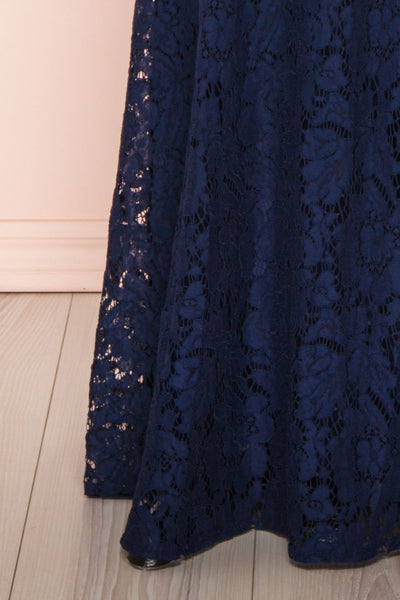 Uranie Navy Blue Lace Mermaid Gown | Boudoir 1861 bottom close-up