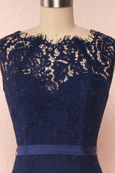 Uranie Navy Blue Lace Mermaid Gown | Boudoir 1861 front close-up