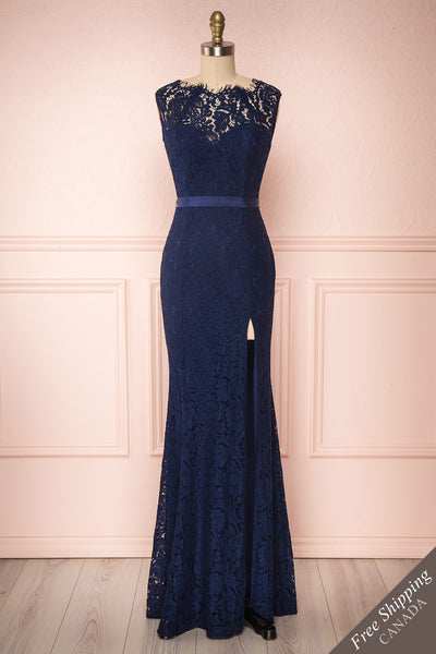 Uranie Navy Blue Lace Mermaid Gown | Boudoir 1861 front view