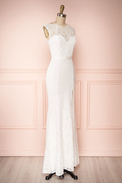 Uranie Ivoire Ivory Lace Mermaid Gown | Boudoir 1861 side view