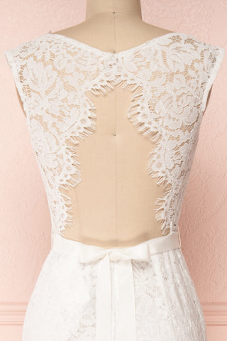 Uranie Ivoire Ivory Lace Mermaid Gown | Boudoir 1861 back close-up