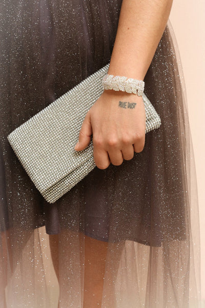 Meryt Silver Crystal Clutch | Sac à Main | Boutique 1861 on model