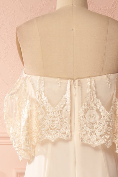 Vaihi Cream Embroidered Ruffle Bustier Mermaid Gown | Boudoir 1861