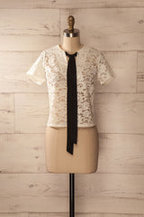 Valbonne - Ivory lace top with black ribbon