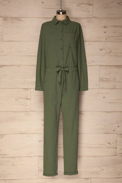 Valdinoce Olive Green Button-Up Coverall Jumpsuit | La Petite Garçonne