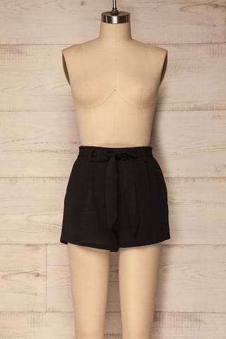 Valdorbia Lightweight Black Shorts with Belt | La Petite Garçonne