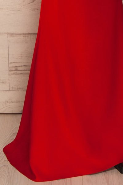 Vallata Fraise - Red waist cut-outs fitted gown