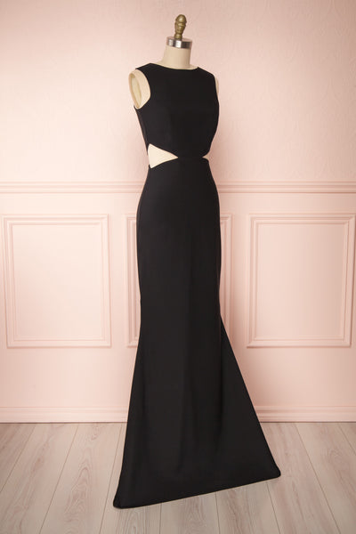 Vallata Black Cut-Outs Mermaid Gown | La Petite Garçonne side view