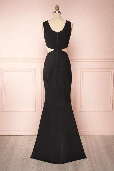 Vallata Black Cut-Outs Mermaid Gown | La Petite Garçonne back view