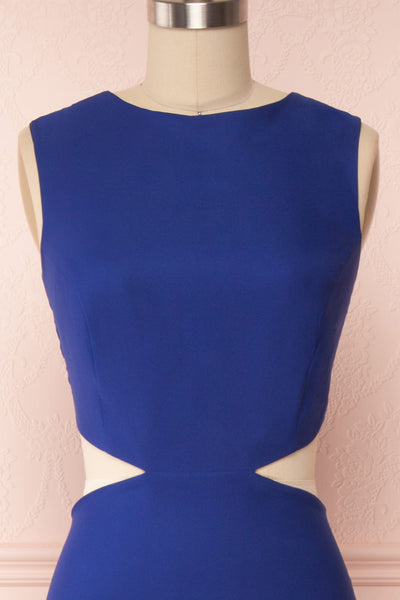 Vallata Bleuet Royal Blue Maxi Dress | La petite garçonne front close up