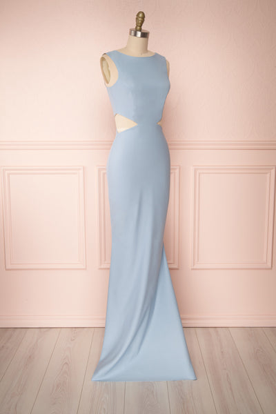 Vallata Celeste - Baby blue waist cut-outs fitted gown side view