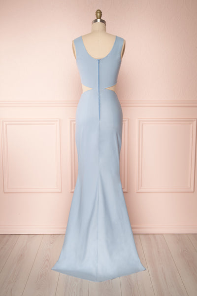 Vallata Celeste - Baby blue waist cut-outs fitted gown back view