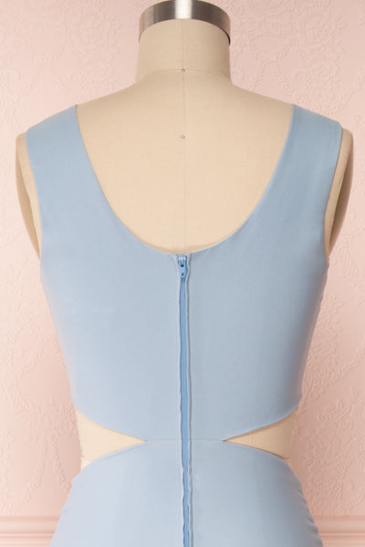 Vallata Celeste - Baby blue waist cut-outs fitted gown back close up