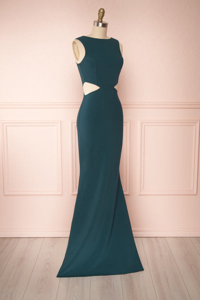 Vallata Emerald Green Fitted Maxi Dress | La petite garçonne side view