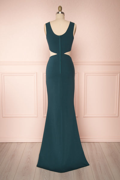 Vallata Emerald Green Fitted Maxi Dress | La petite garçonne back view