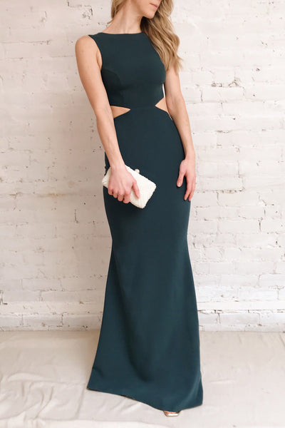 Vallata Emerald - Dark Green waist cut-outs fitted gown