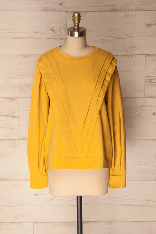 Vallosio Curcuma Yellow Pleated Long Sleeved Top | La Petite Garçonne