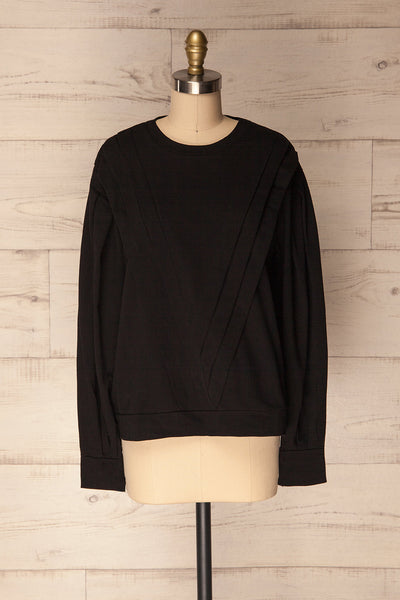 Vallosio Poivre Black Pleated Long Sleeved Top | La Petite Garçonne