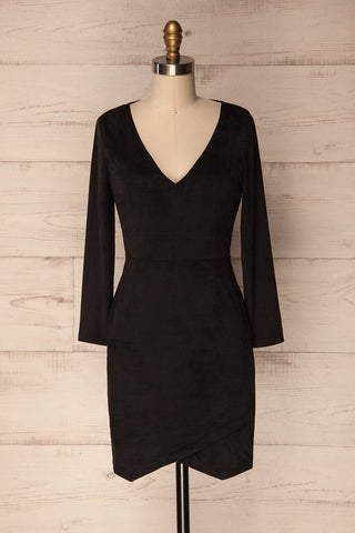 Vallonto Black Long Sleeved Faux Suede Dress | La Petite Garçonne