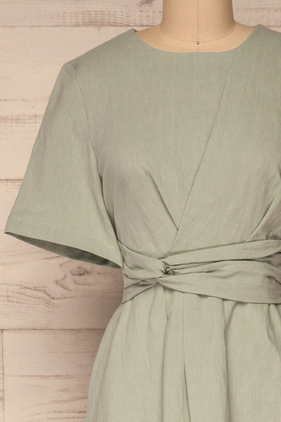 Valthi Blue Linen A-Line Midi Dress | La petite garçonne front close-up