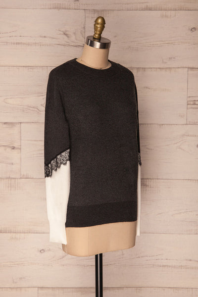 Vasseny Carbone Dark Grey & White Knit Sweater | La Petite Garçonne 3