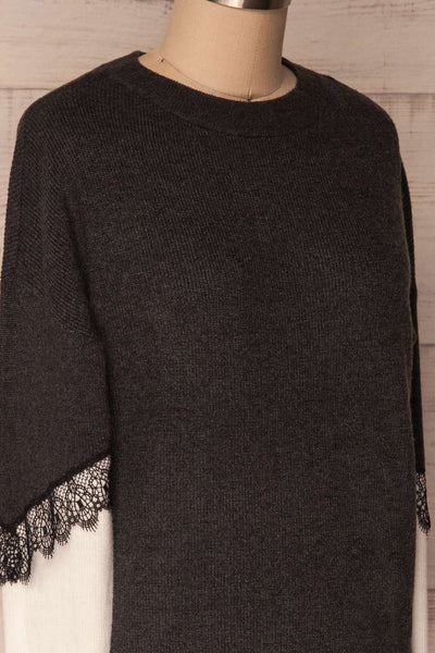 Vasseny Carbone Dark Grey & White Knit Sweater | La Petite Garçonne 4