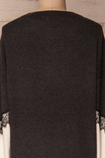 Vasseny Carbone Dark Grey & White Knit Sweater | La Petite Garçonne 6