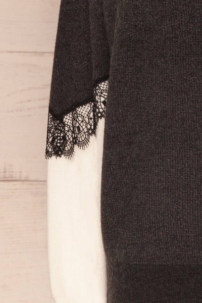 Vasseny Carbone Dark Grey & White Knit Sweater | La Petite Garçonne 7